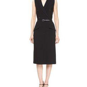 Michael Kors sleeveless black wool tuxedo dress